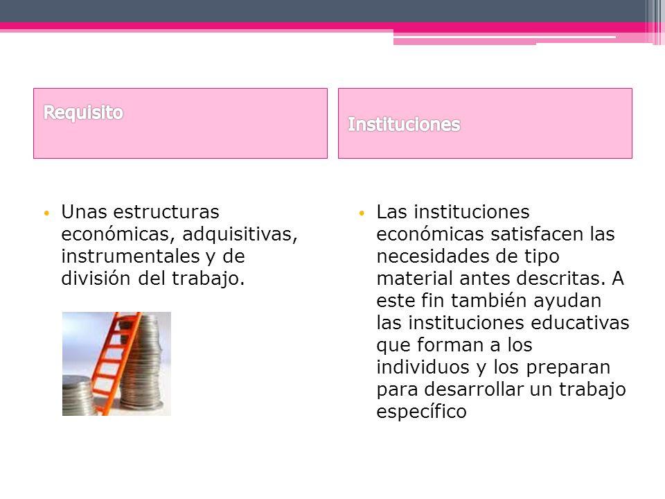 Requisito Instituciones. Unas estructuras económicas, adquisitivas, instrumentales y de división del trabajo.