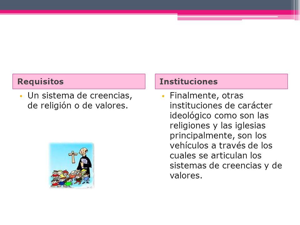 Un sistema de creencias, de religión o de valores.
