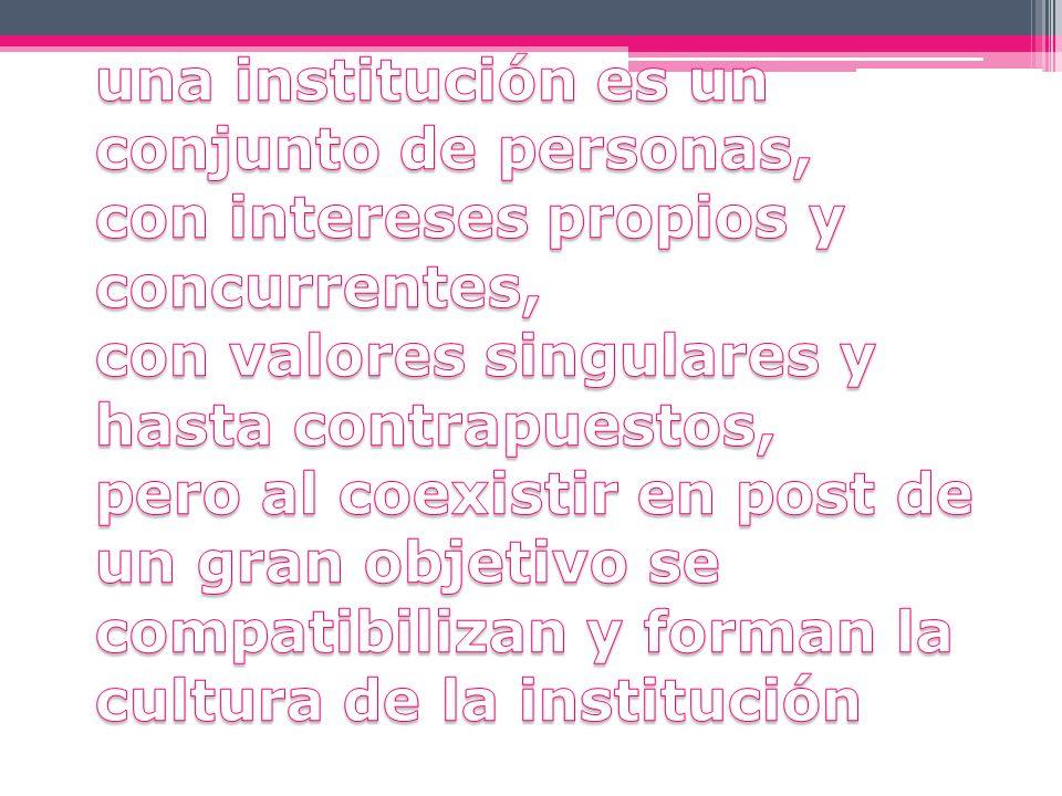 una institución es un conjunto de personas, con intereses propios y concurrentes, con valores singulares y hasta contrapuestos, pero al coexistir en post de un gran objetivo se compatibilizan y forman la cultura de la institución