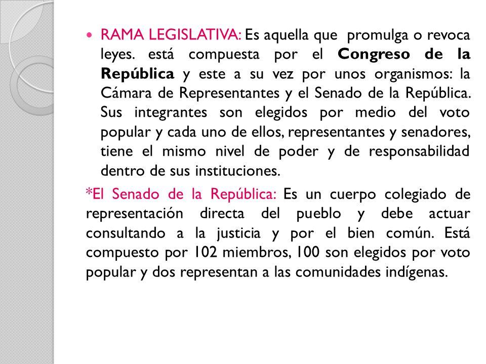 RAMA LEGISLATIVA: Es aquella que promulga o revoca leyes