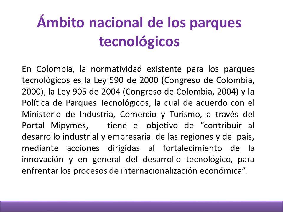 Ámbito nacional de los parques tecnológicos