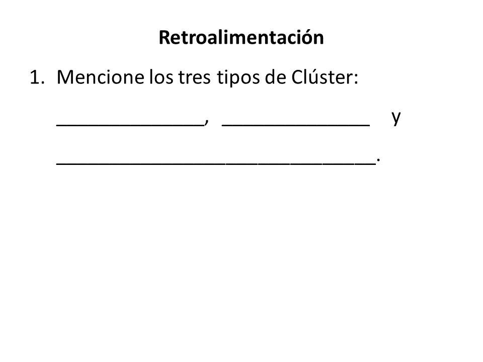 Retroalimentación Mencione los tres tipos de Clúster: ______________, ______________ y ______________________________.