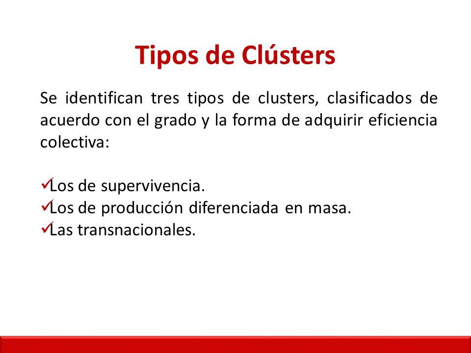 Tipos de Clústers Se identifican tres tipos de clusters, clasificados de acuerdo con el grado y la forma de adquirir eficiencia colectiva: