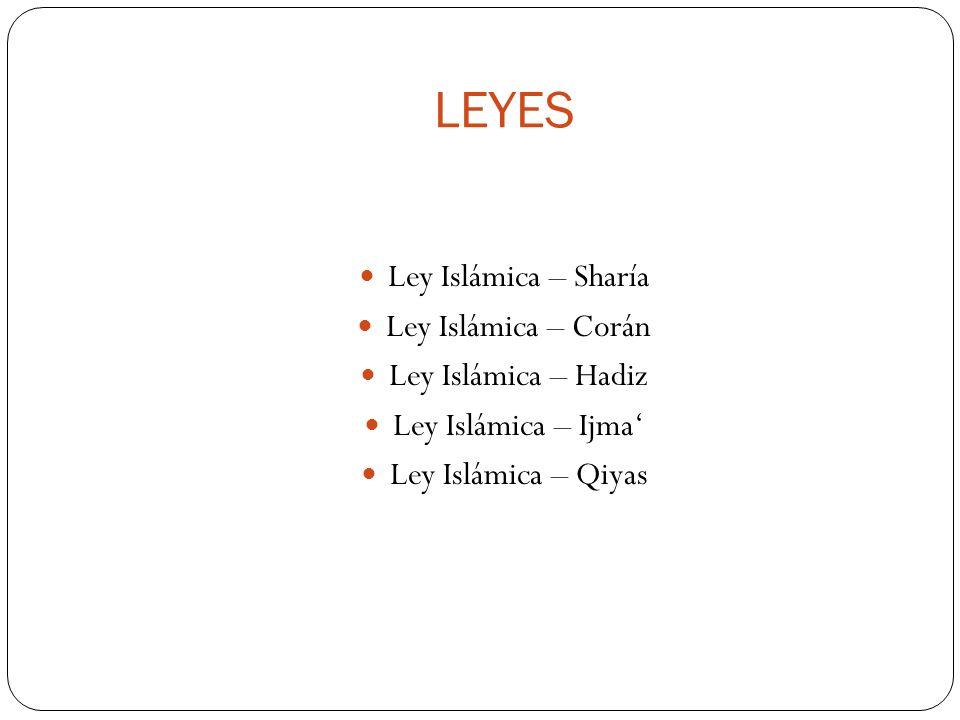 LEYES Ley Islámica – Sharía Ley Islámica – Corán Ley Islámica – Hadiz