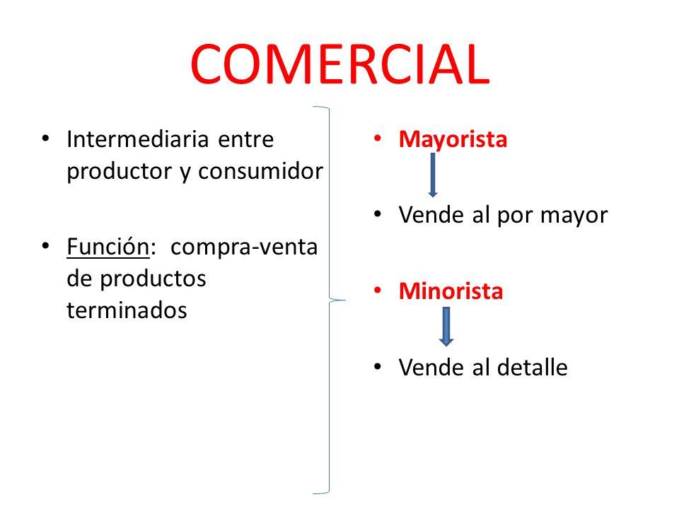 COMERCIAL Intermediaria entre productor y consumidor