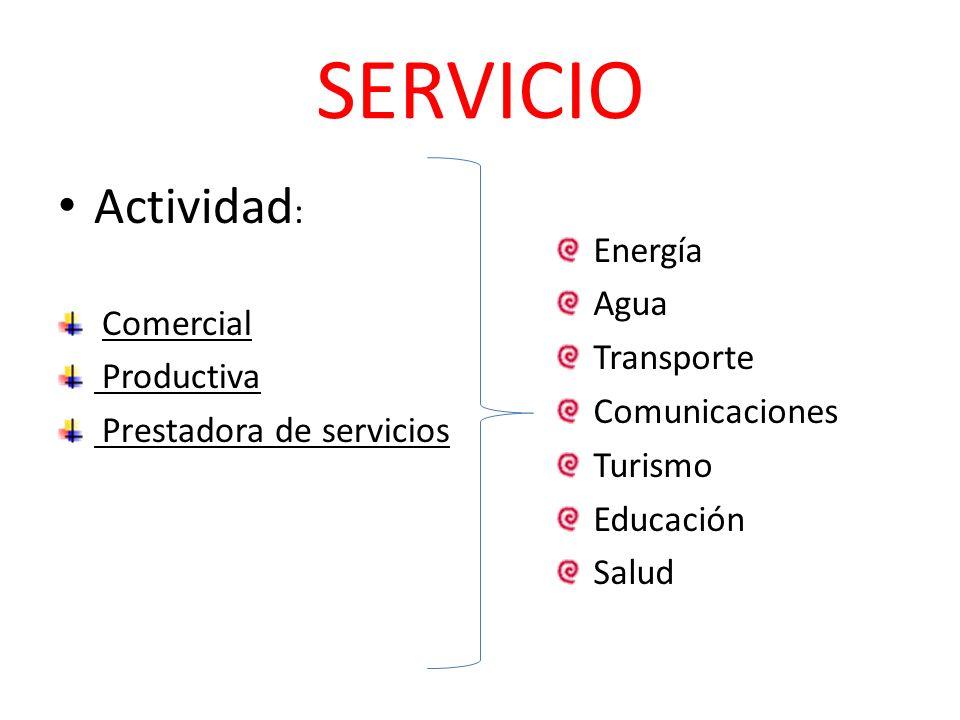 SERVICIO Actividad: Energía Agua Comercial Transporte Productiva