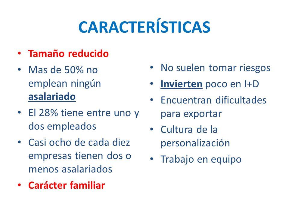 CARACTERÍSTICAS Tamaño reducido No suelen tomar riesgos