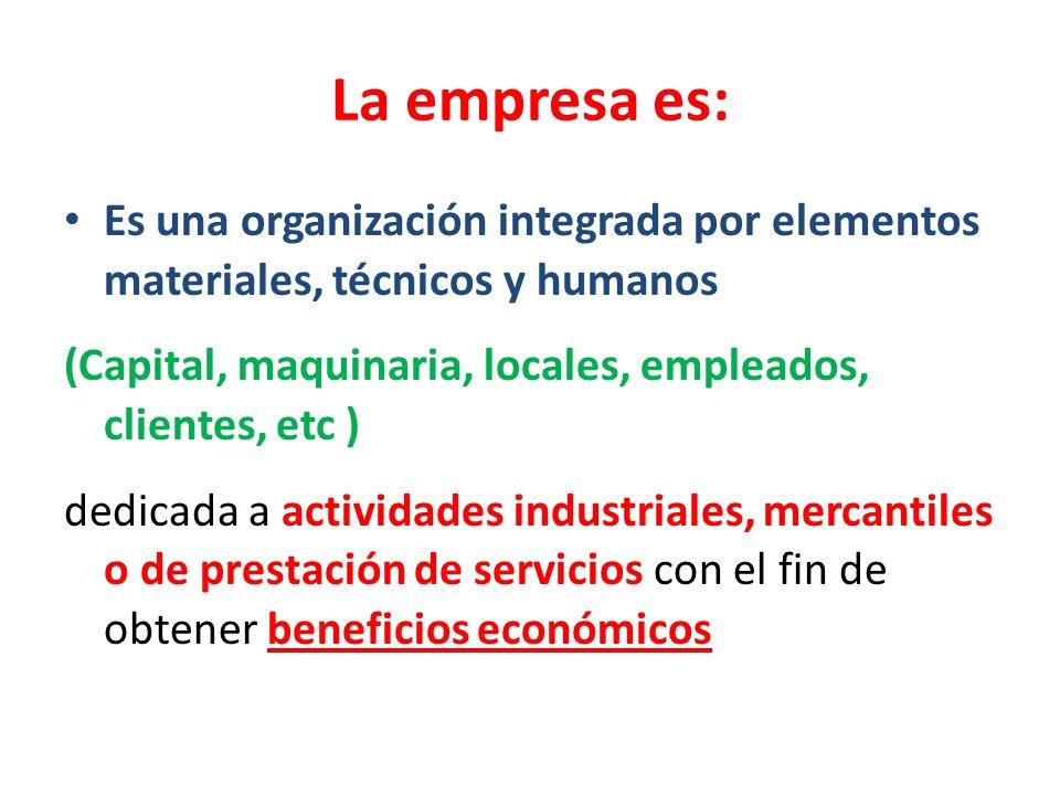 La empresa es: Es una organización integrada por elementos materiales, técnicos y humanos.