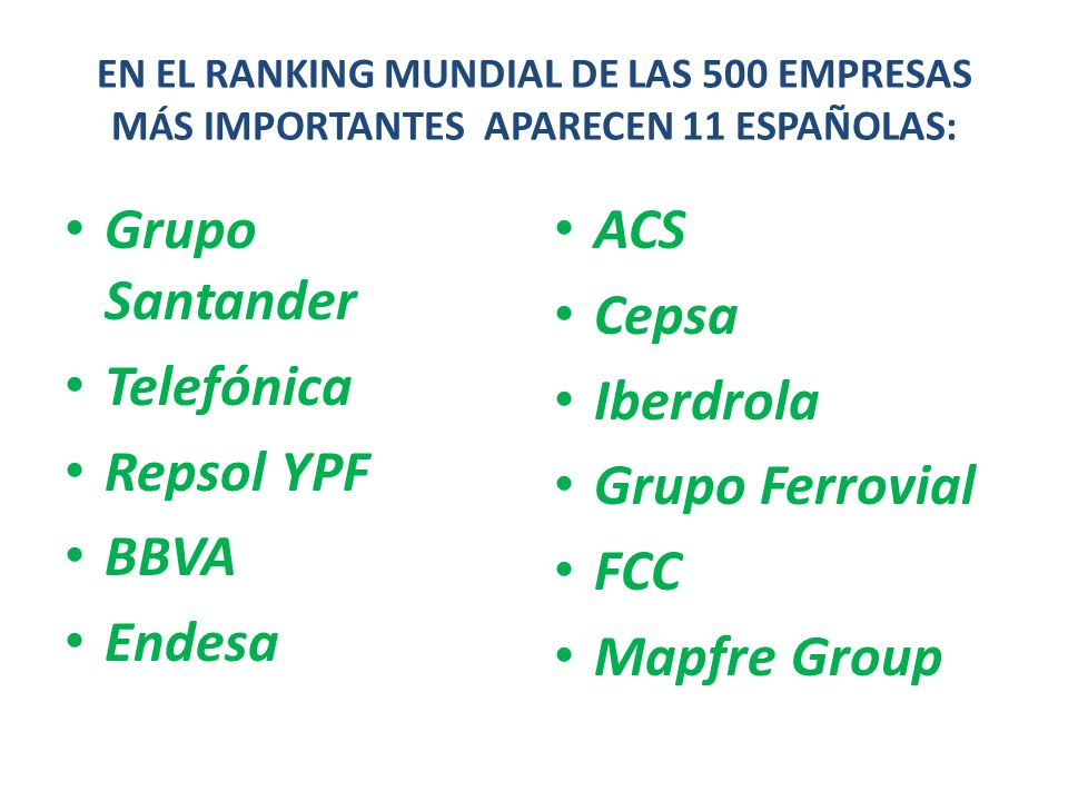 Grupo Santander Telefónica Repsol YPF BBVA Endesa ACS Cepsa Iberdrola