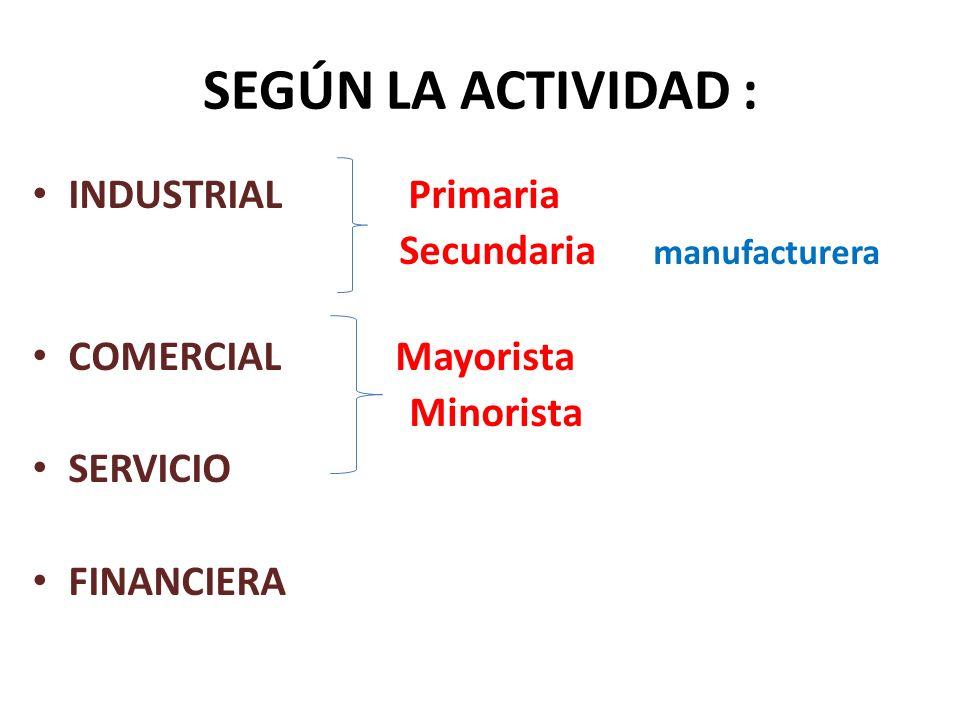 SEGÚN LA ACTIVIDAD : INDUSTRIAL Primaria Secundaria manufacturera