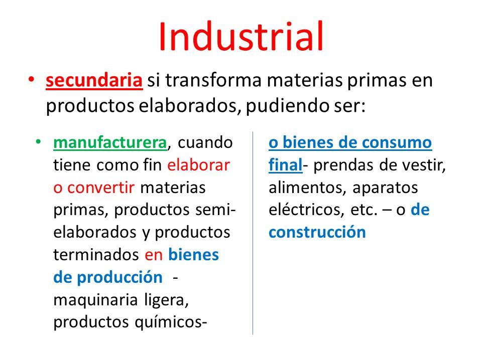 Industrial secundaria si transforma materias primas en productos elaborados, pudiendo ser: