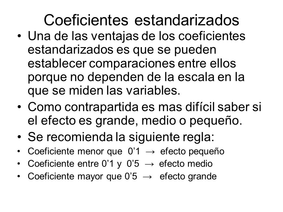 Coeficientes estandarizados