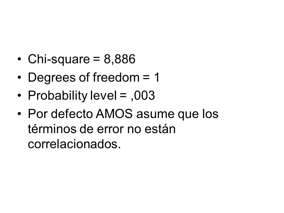Chi-square = 8,886 Degrees of freedom = 1. Probability level = ,003.