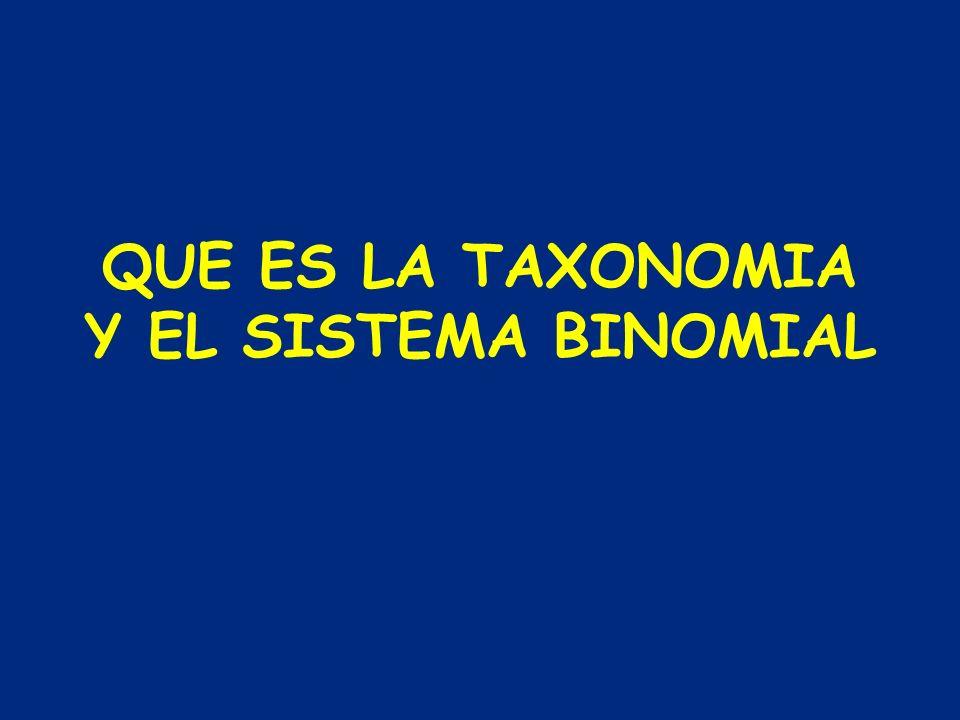 QUE ES LA TAXONOMIA Y EL SISTEMA BINOMIAL