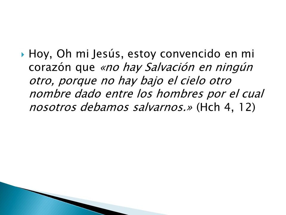 Hoy, Oh mi Jesús, estoy convencido en mi corazón que «no hay Salvación en ningún otro, porque no hay bajo el cielo otro nombre dado entre los hombres por el cual nosotros debamos salvarnos.» (Hch 4, 12)