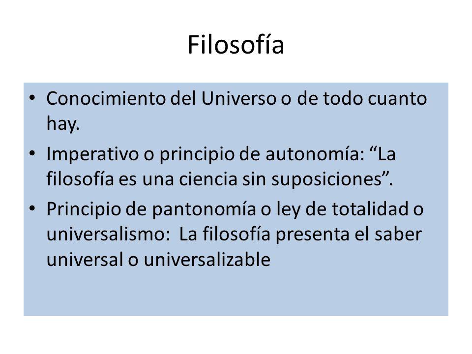 Filosofía Conocimiento del Universo o de todo cuanto hay.