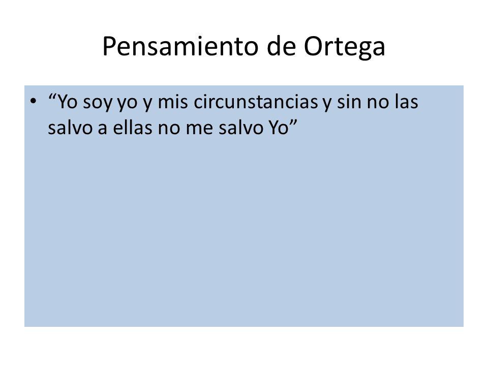 Pensamiento de Ortega Yo soy yo y mis circunstancias y sin no las salvo a ellas no me salvo Yo