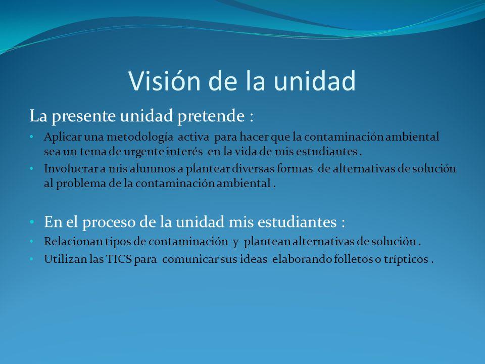 Visión de la unidad La presente unidad pretende :