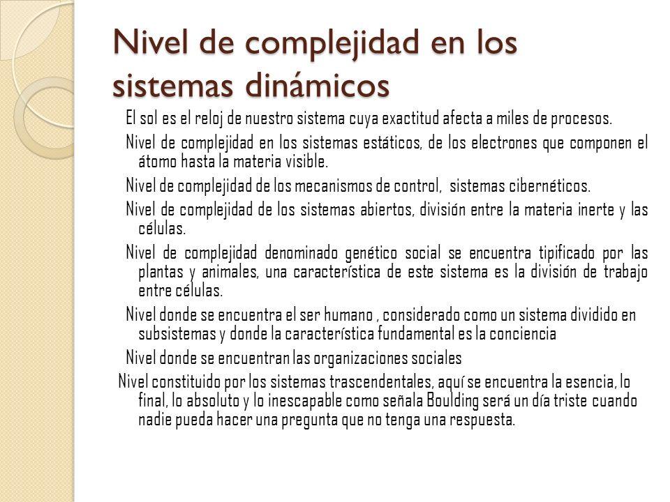 Nivel de complejidad en los sistemas dinámicos