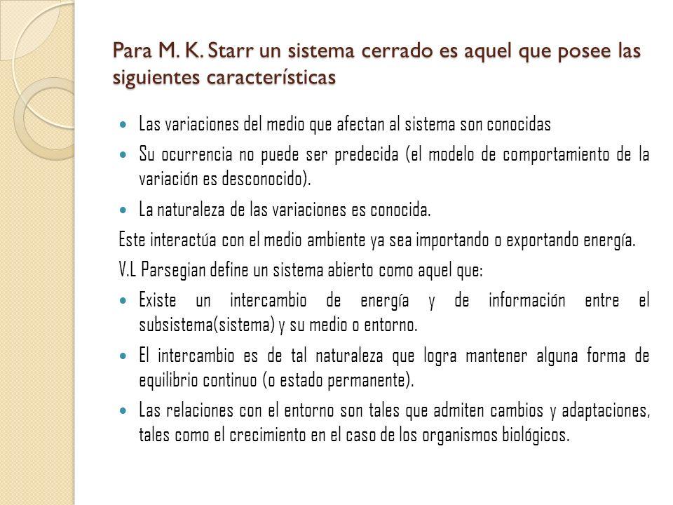 Para M. K. Starr un sistema cerrado es aquel que posee las siguientes características