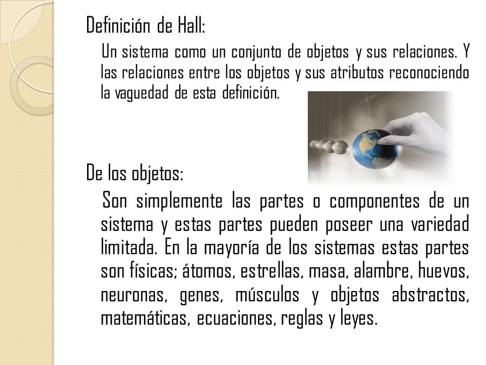 Definición de Hall: De los objetos: