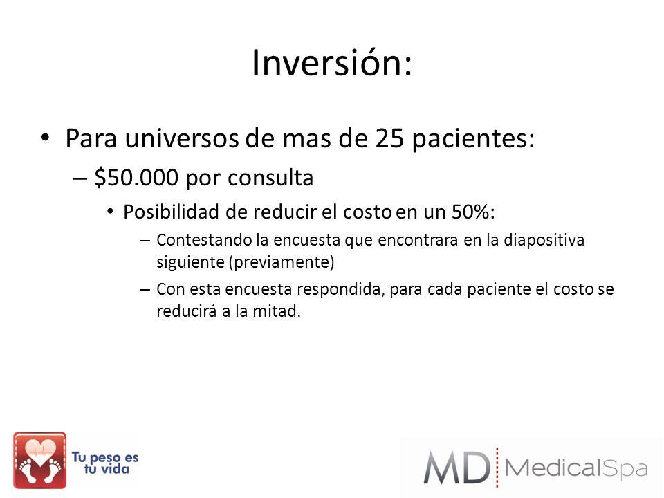 Inversión: Para universos de mas de 25 pacientes: $50.000 por consulta