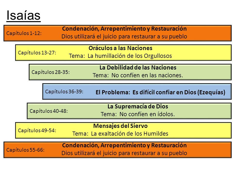 Isaías Condenación, Arrepentimiento y Restauración Dios utilizará el juicio para restaurar a su pueblo.