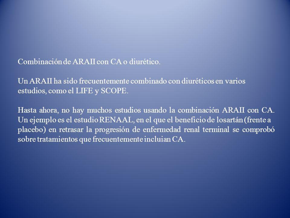 Combinación de ARAII con CA o diurético.