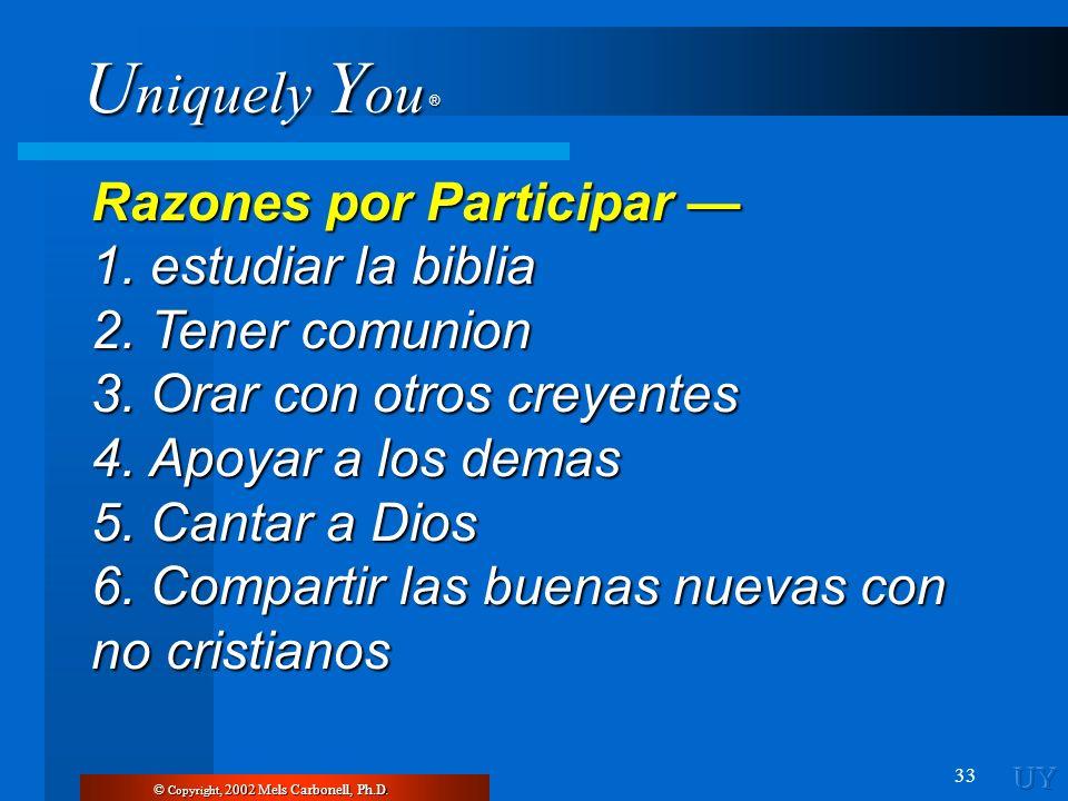 Razones por Participar — 1. estudiar la biblia 2. Tener comunion