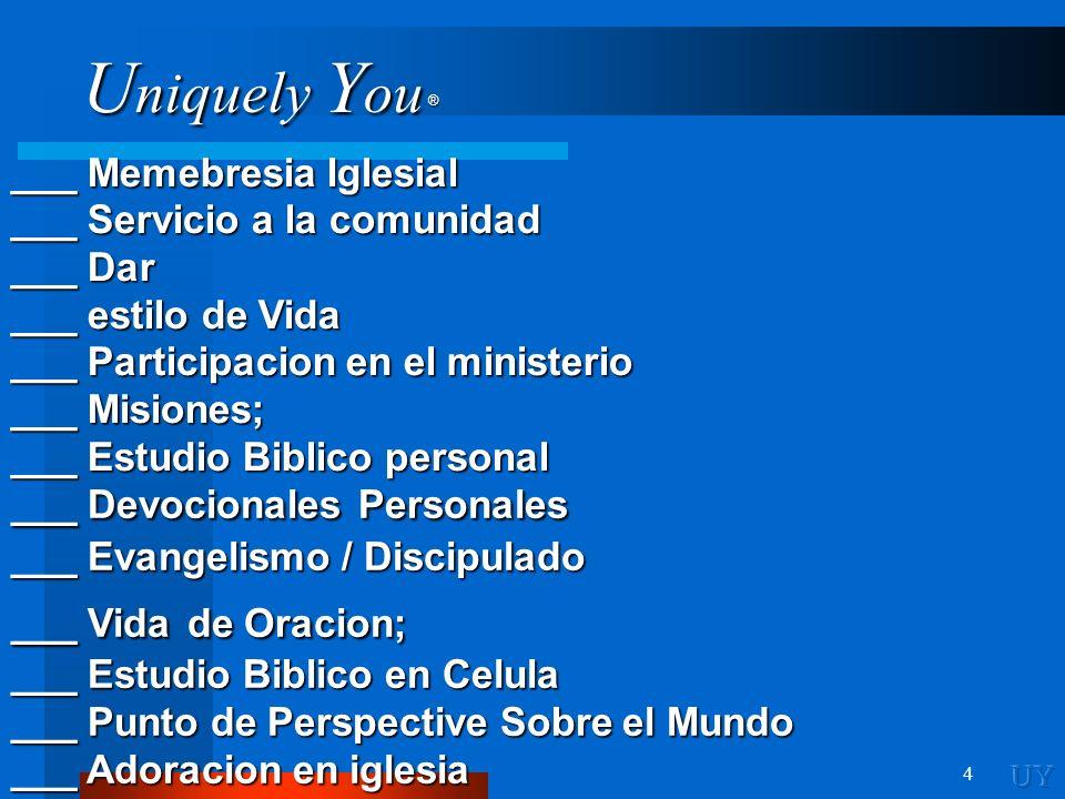 ___ Memebresia Iglesial ___ Servicio a la comunidad ___ Dar