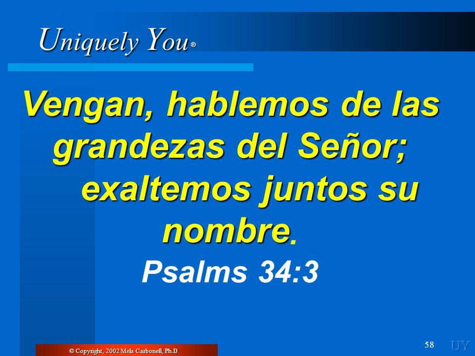Vengan, hablemos de las grandezas del Señor; exaltemos juntos su nombre.
