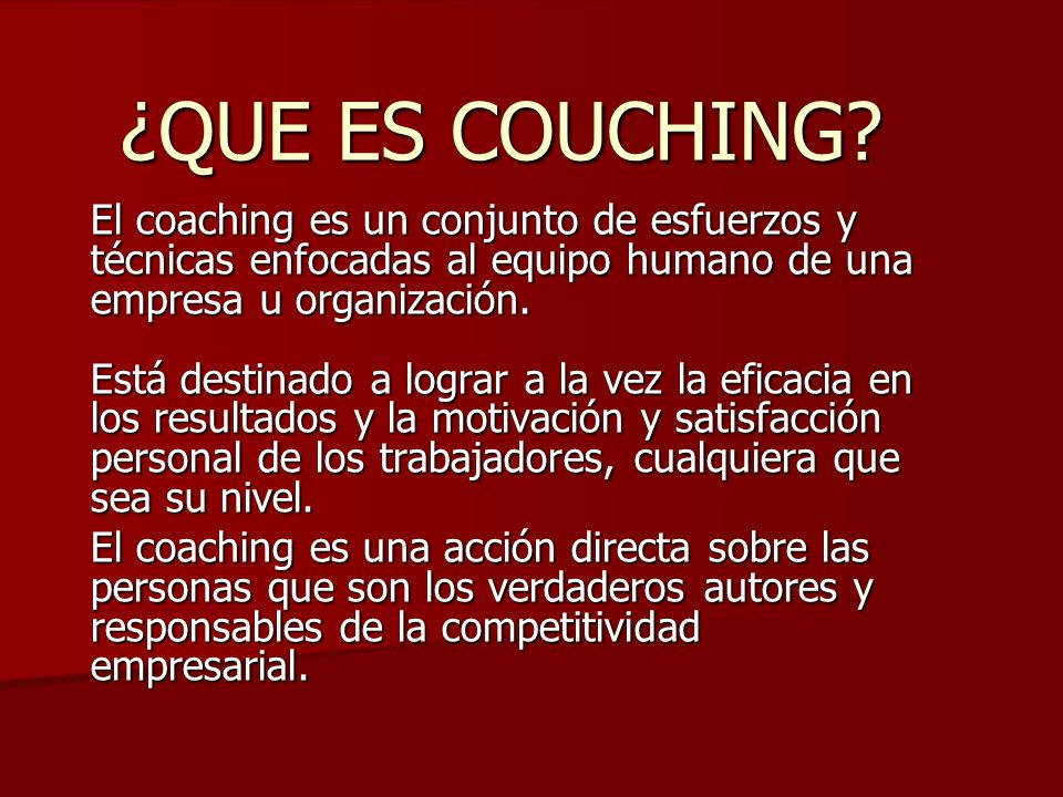 ¿QUE ES COUCHING