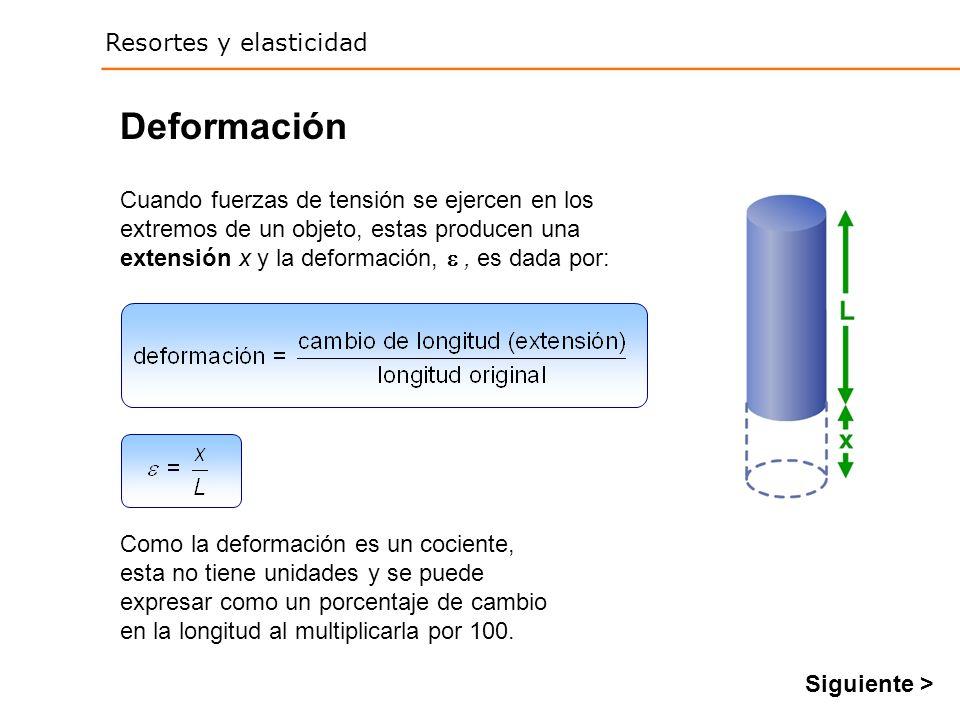 Deformación Cuando fuerzas de tensión se ejercen en los extremos de un objeto, estas producen una extensión x y la deformación,  , es dada por: