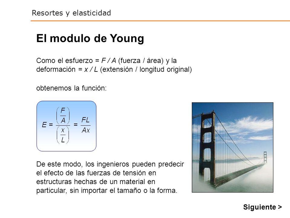 El modulo de Young Como el esfuerzo = F / A (fuerza / área) y la deformación = x / L (extensión / longitud original)