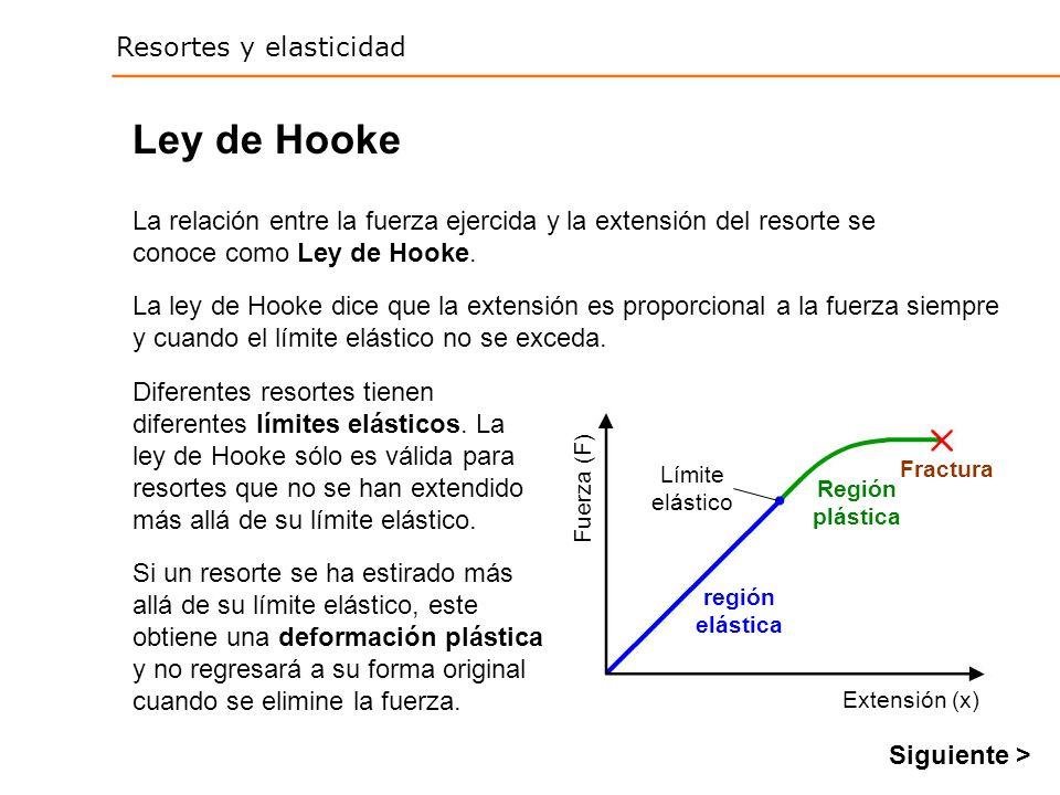Ley de Hooke La relación entre la fuerza ejercida y la extensión del resorte se conoce como Ley de Hooke.