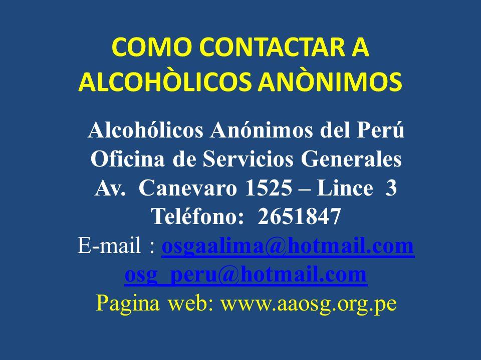COMO CONTACTAR A ALCOHÒLICOS ANÒNIMOS