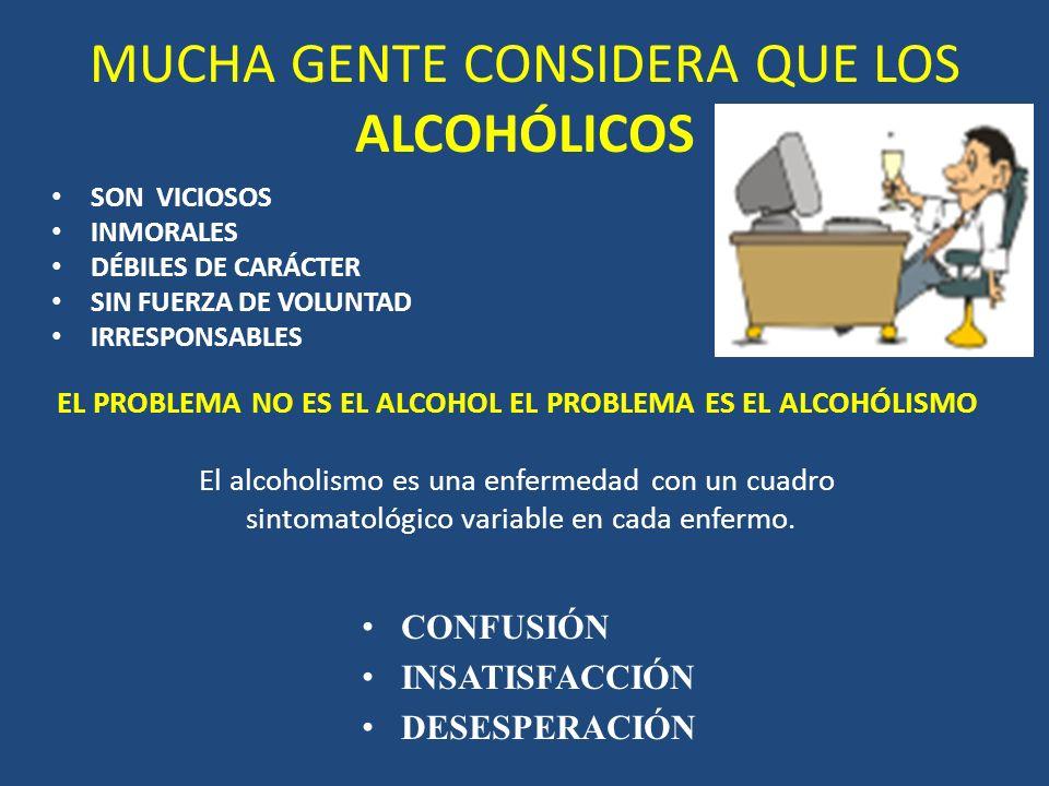 MUCHA GENTE CONSIDERA QUE LOS ALCOHÓLICOS