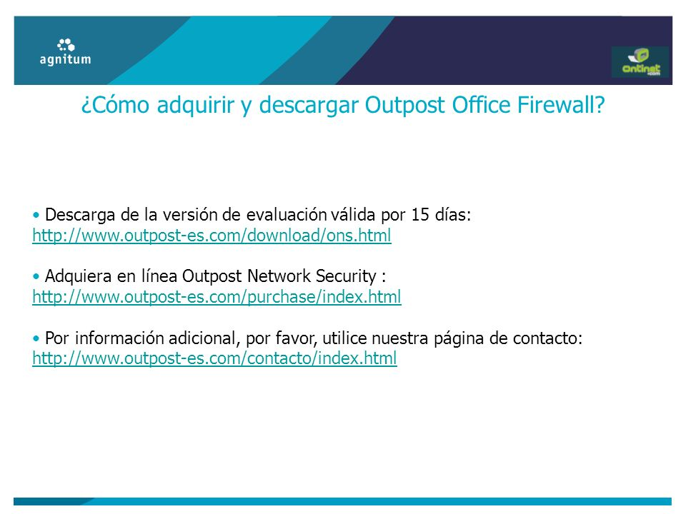 ¿Cómo adquirir y descargar Outpost Office Firewall
