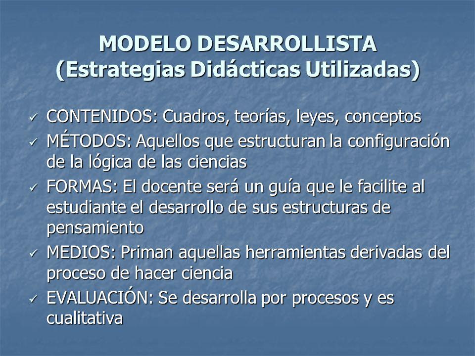 MODELO DESARROLLISTA (Estrategias Didácticas Utilizadas)