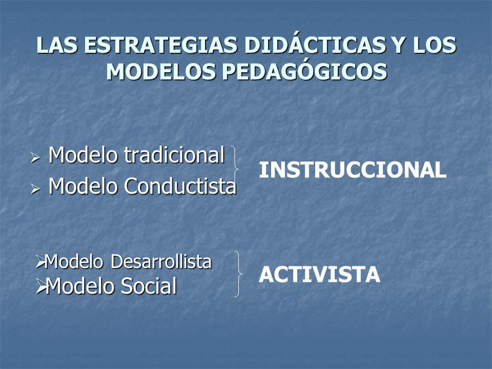 LAS ESTRATEGIAS DIDÁCTICAS Y LOS MODELOS PEDAGÓGICOS
