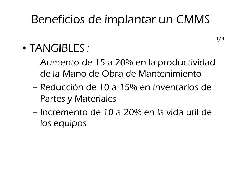 Beneficios de implantar un CMMS