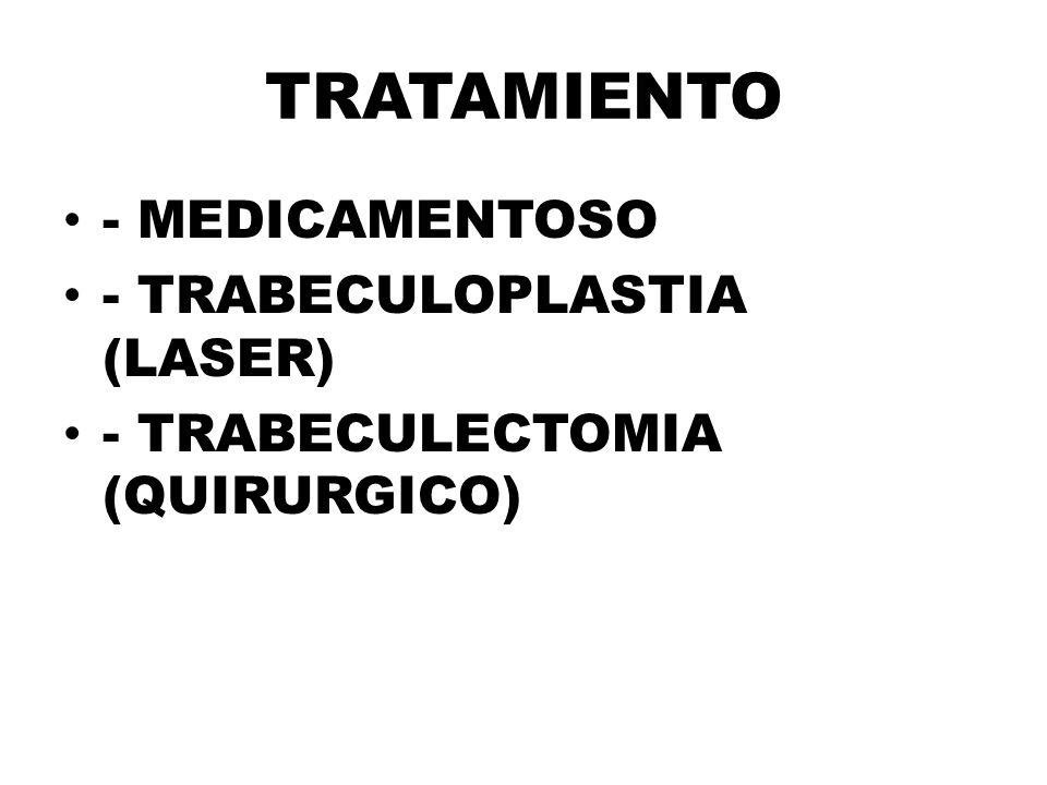 TRATAMIENTO - MEDICAMENTOSO - TRABECULOPLASTIA (LASER)