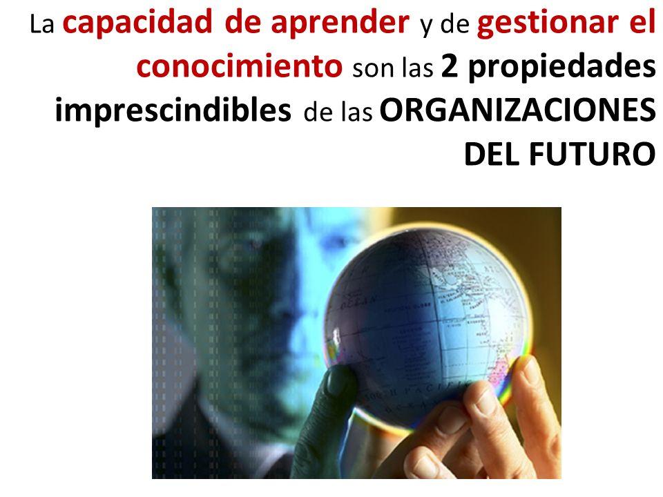 La capacidad de aprender y de gestionar el conocimiento son las 2 propiedades imprescindibles de las ORGANIZACIONES DEL FUTURO