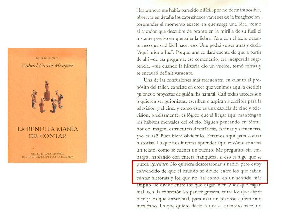 Hace poco leí libro de García Márquez sobre los talleres de guión que hace.