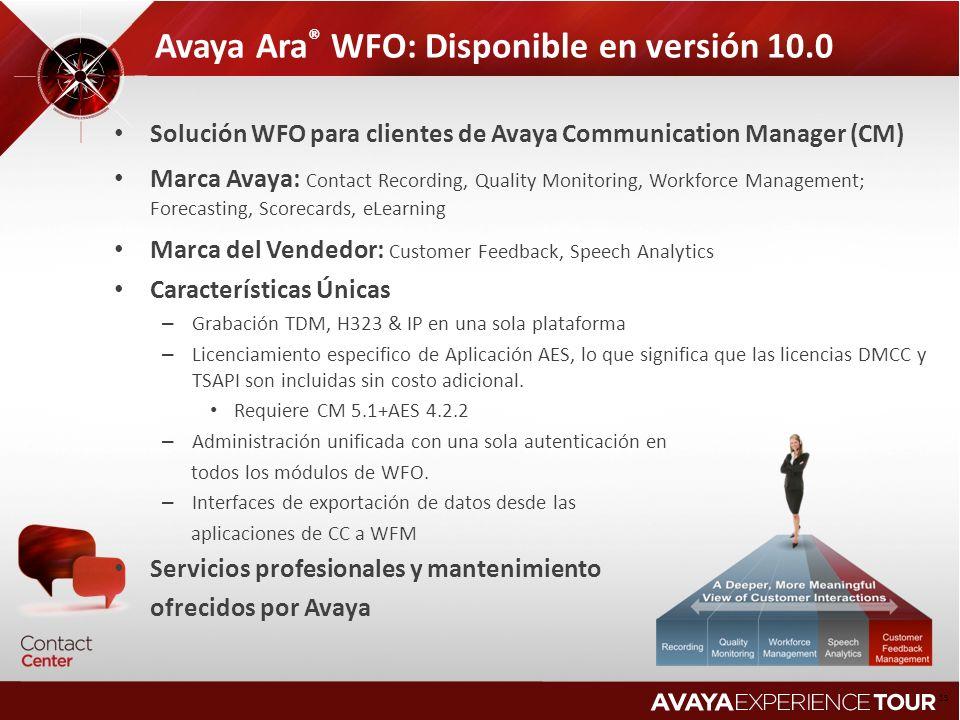 Avaya Ara® WFO: Disponible en versión 10.0