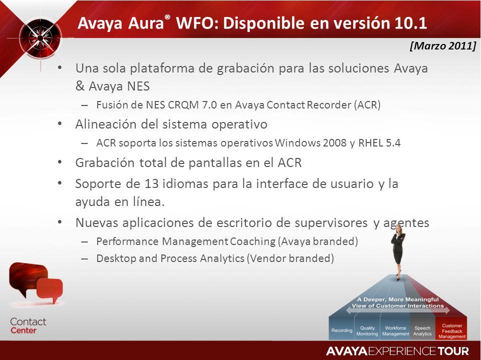 Avaya Aura® WFO: Disponible en versión 10.1