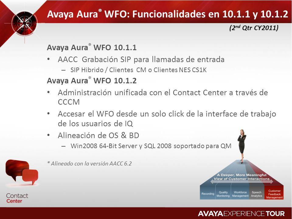 Avaya Aura® WFO: Funcionalidades en 10.1.1 y 10.1.2
