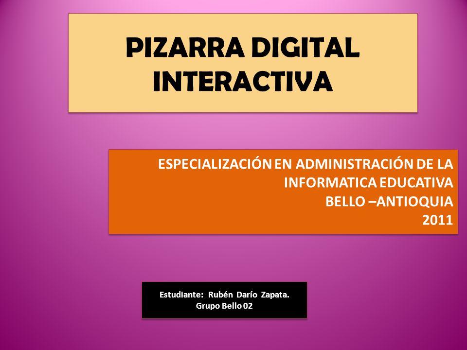 PIZARRA DIGITAL INTERACTIVA Estudiante: Rubén Darío Zapata.