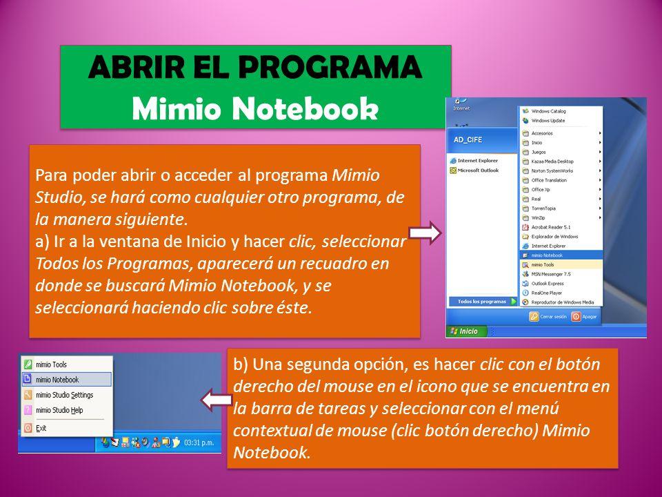 ABRIR EL PROGRAMA Mimio Notebook