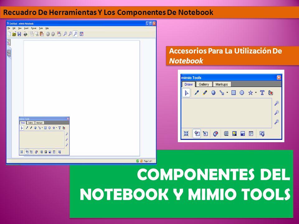 COMPONENTES DEL NOTEBOOK Y MIMIO TOOLS